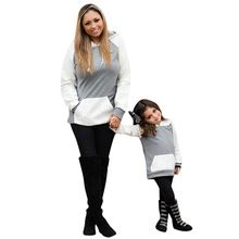 9dcd80db0edc Matching Mother Daughter Son Casual Hooded Splice Sweatshirt Label Sizes,  Mommy And Me, Everyday