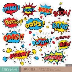 Comic Text Digital Clipart, Superhero Text Clipart, Superheroes Pop Art Text and Bubbles Clipart - Scrapbook ideas Superhero Costumes For Boys, Superhero Pop Art, Superhero Texts, Superhero Party, Superhero Clipart, Superhero Characters, Superman Clipart, Superhero Art Projects, Clipart Boy