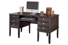 """Black Carlyle 60"""" Home Office Desk by Ashley HomeStore"""