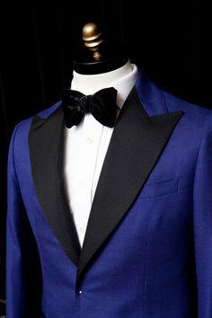 Doyle Mueser Bespoke: An electric blue Doyle Mueser tuxedo.
