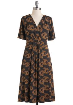 Celestial of the Best Dress - Long, Print, Pleats, Casual, Short Sleeves, Fall, Brown, Wrap, Eco-Friendly