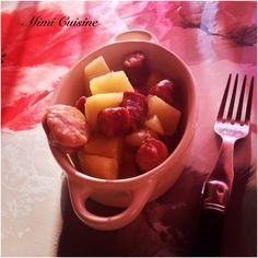 Ragout de pommes de terre saucisses fumées Recette Cookeo de chez Moulinex. Retrouvez pleins de recettes faites au Cookeo sur mon site Mimi Cuisine