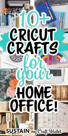 AD: Find yourself working from home these days? It's the perfect time to create a cozy home office and we have over 10 great Cricut craft ideas to help! #cricutcreated #cricutmade #sustainmycrafthabit