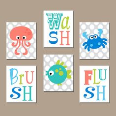 Ocean Animals Bathroom Wall Art Sea Decor Canvas Or Prints Wash Brush Flush Kid Child Rules Set Of 6