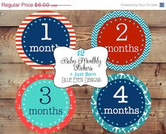 ON SALE 50% OFF Diy Monthly Baby Stickers,Monthly Bodysuit Stickers,Monthly Baby StickersNautical,Red,Blue,Baby Age Stickers B0705 by blueeyesdesigns27 on Etsy