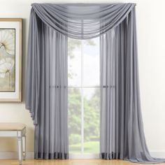 Utopia Bedding Premium White Sheer Window Scarf Valance - Window Scarfs for Living Room - White Luxurious - 54 by 216 Inches Living Room Decor Curtains, Home Curtains, Window Curtains, Bedroom Decor, Bedroom Drapes, Curtain Panels, Scarf Curtains, Window Scarf, Sheer Valances