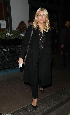 Holly Willoughby wears black ensemble as she enjoys dinner in London