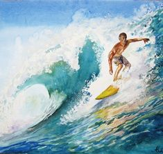 Surfing Ocean WAVE Painting Ocean art on the by ArtannaStore Ocean Wave Painting, Watercolor Ocean, Wave Art, Ocean Art, Ocean Waves, Surfing Painting, Decoration Surf, Surf Decor, Seascape Paintings