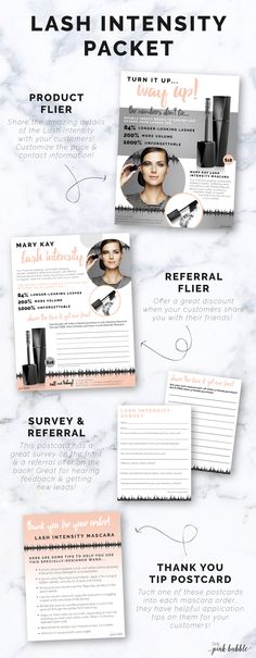 Mary Kay Lash Intensity Mascara Packet! Custom Product Flier, Custom Referral Flier, Survey & Referral Postcards, plus a How-To Postcard!! Find them all only at www.thepinkbubble.co!!
