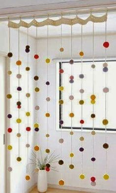 Beautiful Free Crochet Curtain Patterns Too cute! Hanging pom poms threaded on yarn. Hanging pom poms threaded on yarn. Crochet Curtain Pattern, Crochet Curtains, Curtain Patterns, Pom Pom Curtains, Crochet Patterns, Easy Curtains, String Curtains, Felt Patterns, Curtain Ideas