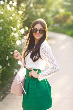 49e47cbb60 girly green skirt and lace top Cute Outfits With Shorts, Chic Outfits, Green  Skirt