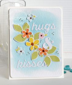 Hugs & Kisses card by Michele Boyer for Paper Smooches - Hugs & Kisses die, Botanicals 3 stamps and dies