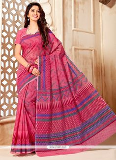 Awesome Multi Colour Print Work Cotton   Casual Saree Model: YOSAR7474