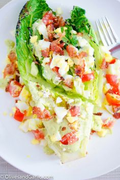 Grilled Romaine Lettuce Cobb Salad with Avocado Dressing
