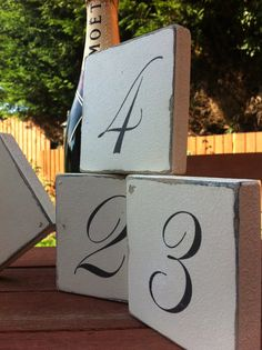 Table number wedding sign blocks shabby by MaddysVintageSigns, $4.22