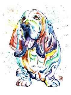 A personal favorite from my Etsy shop https://www.etsy.com/ca/listing/470324669/basset-hound-basset-hound-art-basset