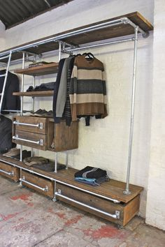 Medium Oak Stained Reclaimed Pine Scaffolding Boards and Galvanised Steel Pipe Wall Mounted and Floor Standing Industrial Chic Dressing Room Wardrobe system ...