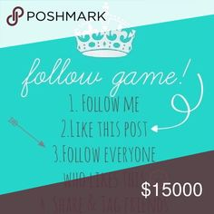 Follow game :) Followers = Sales! This is my first game! It's very simple. 1. Like the listing. 2. Follow me. 3. Follow everyone else that liked this page. 4. Please share with your followers and tag your friends. 5. Be sure to check back and follow everyone else. I appreciate you and will follow you all as well! J. Crew Bags