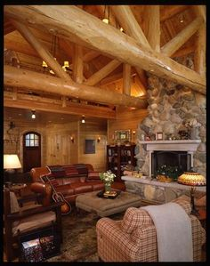 Cozy Cedar And Stone Living Room Log Cabin Homes Cabins