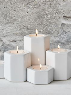 Designed in Sweden, these white hexagonal tealight holders make a perfect coffee…