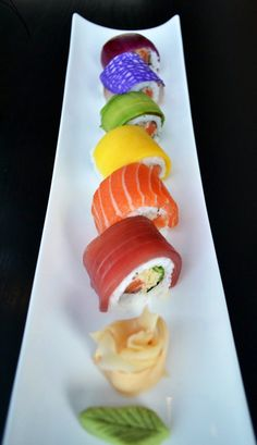 Rainbow Sushi Yummm. Man, I want some good sushi!!!