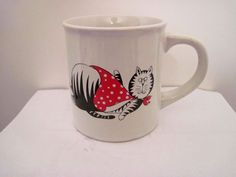 Vintage Full, Eating, Dining Striped Cat Coffee Mug, Bib