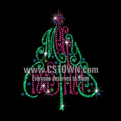 Glittering Christmas Tree Iron on Rhinestone Transfer Decal