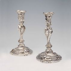 Not Faberge but an inspiration to Julius Rappoport's designs 150 years later. A Superb Pair of George II Antique English Silver Candlesticks London, 1737 by Paul Crespin  A French Huguenot who settled in London