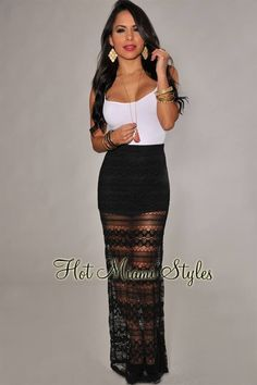 81717c82b256 Hot Miami Styles, Lace Maxi, Lace Skirt, New Outfits, Casual Outfits