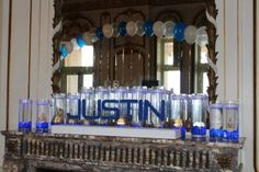 For a unique candle lighting experience, try one of our custom candle lighting displays. Our standard displays have a custom cutout name and theme standing on a base in front of a thoughtful arrangement of candles. Unique Candles, Custom Candles, Floating Candles, Bat Mitsvah, Bar Mitzvah Centerpieces, Candle Lighting Ceremony, Bar Mitzvah Party, Event Decor, Decoration
