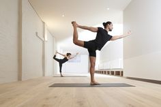 Interior, Heavenly Yoga Studio With Sleek Wooden Floor And Benches And Bright White Brick Walling: Fascinating Hot Yoga Studio