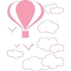 Adesivo Balão nas nuvens, em vinil recortado auto-adesivo. Medidas: 68×55 cm (altura x largura). Enviado em embalagem tubo, super resistente Já vai pronto para instalação,, basta ter um certo cuidado para não colar uma parte do adesivo no outro, é aconselhável colar em duas pessoas. Adesivos recortado, serve para colar em paredes, vidros, carros etc…
