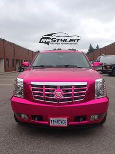 Cadillac Pink Chrome Cadillac Escalade Vinyl Car Wrap Car Wraps in Toronto, Montreal, Miami Cadillac Escalade, Fancy Cars, Cute Cars, Ford Gt, Audi Tt, Pink Wheels, Peugeot, Girly Car, Volkswagen