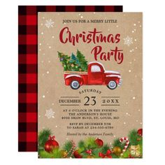 Christmas Truck A Merry Little Christmas Party Invitation Christmas Paper Napkins, Christmas Towels, Cute Christmas Tree, Christmas Truck, Merry Little Christmas, Christmas Holidays, Christmas Cards, Christmas Ideas, Christmas Doormat
