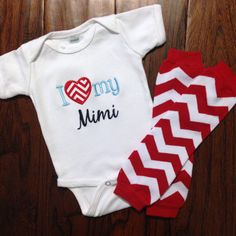 I Love My Mimi Grammy Mommy Daddy Brother Sister Creeper and Leg Warmers on Etsy, $30.00