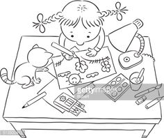 coloring book drawing of children playing at a table with toys - Google Search
