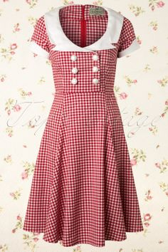 Collectif Clothing - 50s Dora Doll Swing dress in Red White Gingham