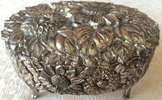 Vintage Silver Medal Embossed Jewelry /Trinket Box (8168), Made in Japan