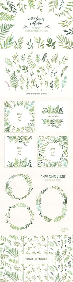 Wild leaves clip art. Watercolor set by Kate Macate on @creativemarket