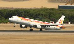 No está despegando, esto es un aterrizaje llevado al límite, de un A321 de @Iberia Líneas Aéreas
