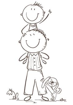 Father and son having fun, cartoon vector illustration, black and… Father and son having fun, vector illustration – ilustração de. Art Drawings For Kids, Drawing For Kids, Easy Drawings, Bullet Journal Art, Bullet Journal Ideas Pages, Cute Coloring Pages, Coloring Books, Father Cartoon, Kindergarten Drawing