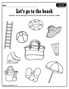Fun free printable beach coloring page and summer worksheets to practice reasoning skills during summer. - Kids education and learning acts Beach Theme Preschool, Free Preschool, Preschool Printables, Kindergarten Worksheets, Preschool Kindergarten, Summer Worksheets, Seasons Worksheets, Worksheets For Kids, Beach Coloring Pages