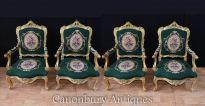Set 4 French Louis XVI Gilt Arm Chairs Seating
