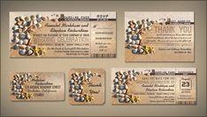 beach wedding invitations tickets boarding pass