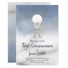 catholic boy first communion watercolor marble invitation   Zazzle.com