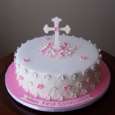 first communion cake ideas | love the dots so elegant cakeland by nivia love the different blossom ...
