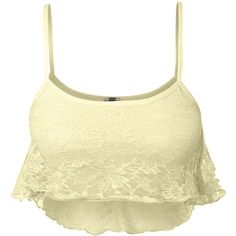 LE3NO Womens Spaghetti Strap Floral Lace Cropped Cami Bralette Top ($9.09) ❤ liked on Polyvore featuring tops, cropped camisoles, lace crop top, cropped cami, floral crop top and floral tank top