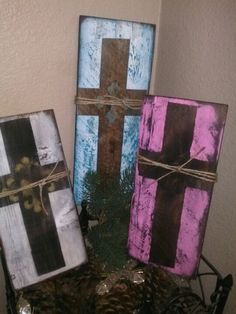 Crosses on old fence wood. @Emily Smolak kozy kondos on fb