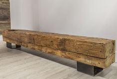 Steel Furniture, Home Decor Furniture, Home Decor Items, Rustic Furniture, Furniture Design, Homemade Bench, Concrete Dining Table, Rustic Bench, Wood Beams