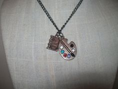 Book and Paint Palette Necklace Silver Book and by JypsyJewels, $12.00